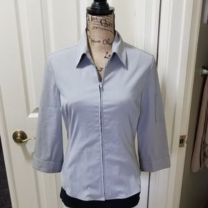 """""""Express"""" Light grey fitted, zip up Blouse! S 7/8"""